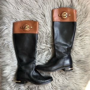 Michael Kors Leather Logo Plated Riding Boots